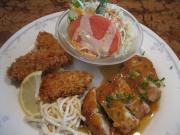 豆腐ハンバーグ&カキフライ
