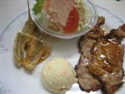 豚の生姜焼き&ほうぼうの天ぷら