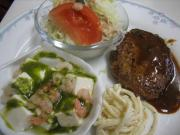 ミニハンバーグ&海老と豆腐のバジルソース和え()