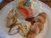 若鶏胸の木の子巻(エリンギ)&カニクリームフライ