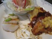 豚ロースカツレツチーズ焼き&イカのバター()