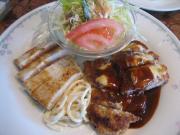ポークカツレツチーズ焼&カジキマグロのステーキ風()