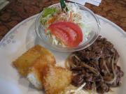 焼肉&魚フライ