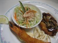 豆腐ハンバーグ&海老フライ