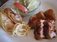若鶏の照り焼き&海老入り湯葉巻天ぷら()