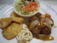 肉団子酢豚風イカのフリッター揚げ