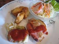 プロシェット(豚肉とウィンナ-の串焼き)&赤魚の唐揚げ(