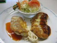 ポークフィレカツチーズ焼&タラのピカタトマトソース