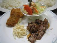 焼肉&海老と白身魚フライ
