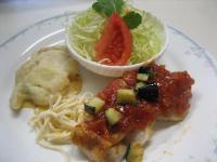 若鶏胸ソテー野菜ソース&帆立貝柱のフリッター揚げ