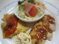 チキンロースト&白身魚のピカタトマトソース