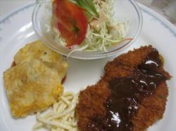 ポ^-クフィレカツ&白身魚のピカタトマトソース
