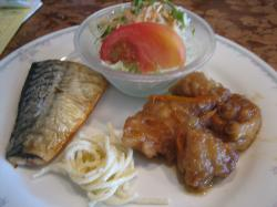 鶏肉の甘酢和え&鯖の塩焼き