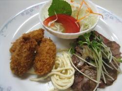 牛肉のマリネ風&カキフライ