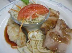 鶏モモソテー梅肉ソース&白身魚のムニエル