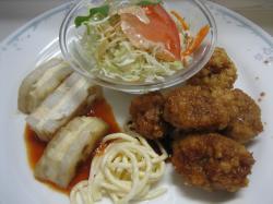 チキンの竜田揚げ&レンコンとお魚のムースのはさみ焼