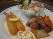 酢豚風肉団子&海老フライjpg