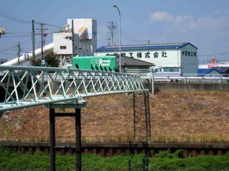 清洲城付近 鳥がとまった鉄橋