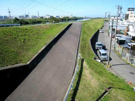 堤防道路脇の道