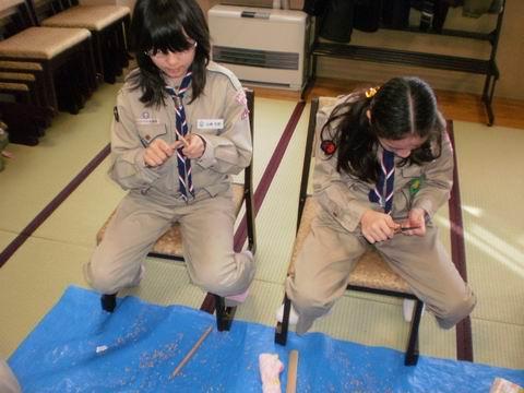 工作(箸作り)ボーイ隊
