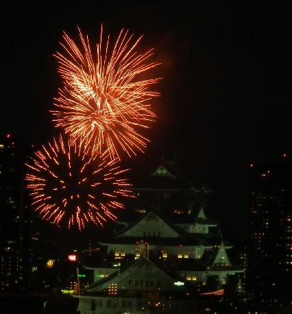 100725花火と大阪城