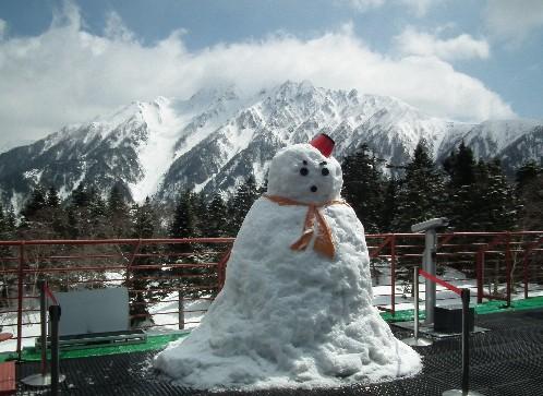 110424-雪だるまと西穂