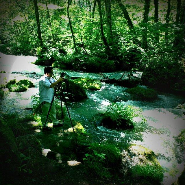奥入瀬渓流 レトロカメラ
