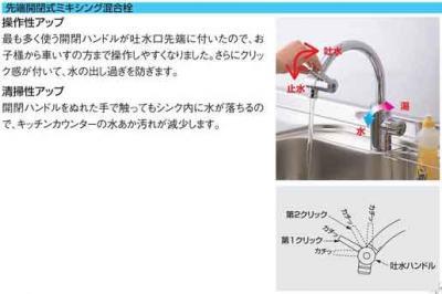 1F洗面台の水栓の説明