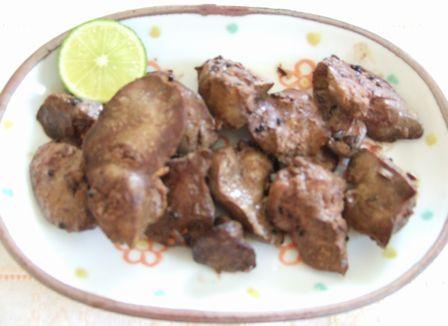 鶏肝のパンチホロン炒め