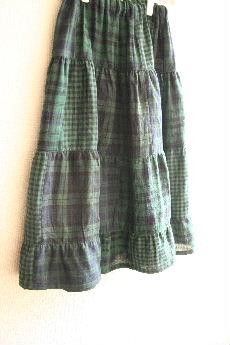 ブラックウォッチダブルガーゼのティアードスカート