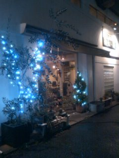 外のイルミネーション@pipin cafe