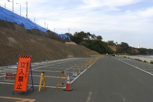 久慈浜海水浴場付近の崖崩れ