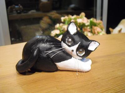 猫粘土白黒さん