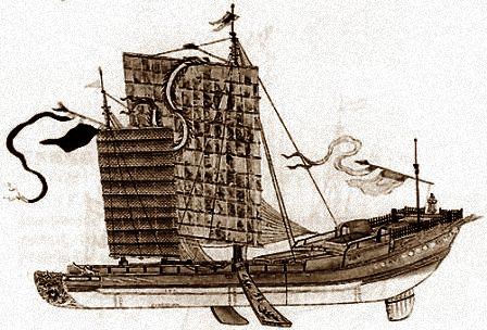ジャンク船絵画