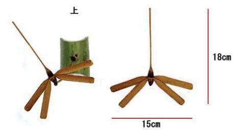 トンボの竹細工・上から見た写真