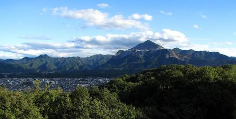 秩父市街地と武甲山