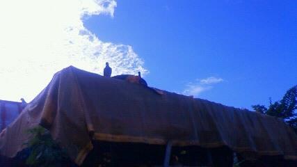 ハト小屋と雲