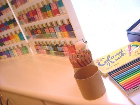 color botle & penciles