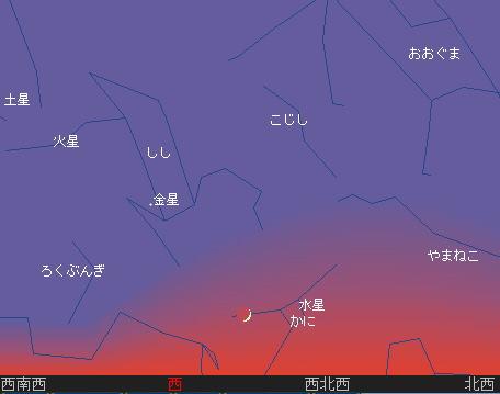 2010 7 14 細い月と水星、金星、火星、土星星図1_713
