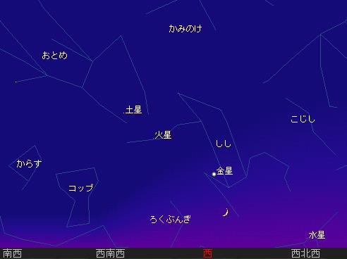 2010 7 14 細い月と水星、金星、火星、土星星図2