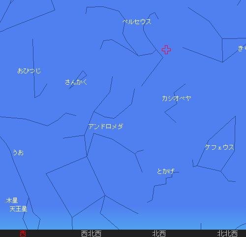 2010 8 13 ペルセウス座流星群13日8時星図