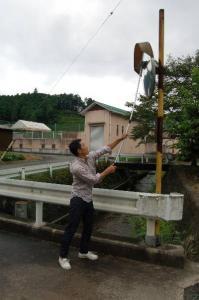 作州津山商工会青年部久米支部カーブミラー清掃ボランティア