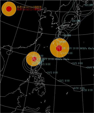 台風17,18号