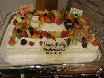 ケーキ・ゲストによる飾り付け