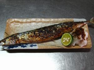 「秋刀魚」、酢橘と大根おろしで、1