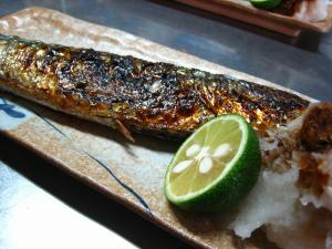 「秋刀魚」、酢橘と大根おろしで、2