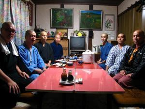 「豊松・松源院の晋山式に来られたお坊さんたち」+松源院・新住職、2009.10.17.泊・2009.10.18.式、
