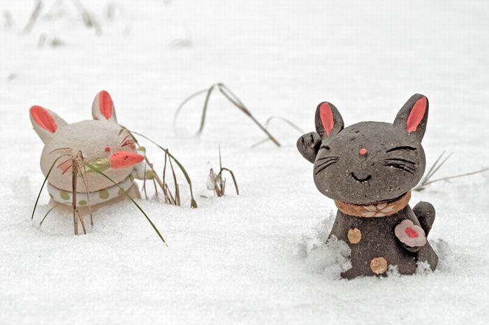 雪中うさぎ