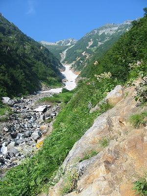 針ノ木雪渓と針ノ木岳