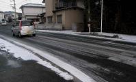 凍結していて車が滑っていました